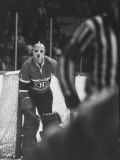 Goalie Jacques Plante Wearing Mask to Protect Face from Injuries  During Game
