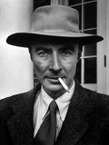 Portrait of American Physicist J Robert Oppenheimer Wearing a Porkpie Hat and Smoking a Cigarette
