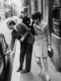 Actress Audrey Hepburn Having Car Door Opened by Psychiatrist Husband Andrea Dotti Aluminium