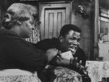 """Actress Claudia Mcneil and Actor Sidney Poitier in a Scene from the Play """"A Raisin in the Sun"""""""