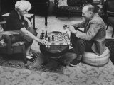 Author Vladimir Nabokov Playing Chess with His Wife