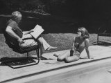 Director Joshua L Logan Studying a Movie Script with Young Actress Jane Fonda