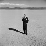 British Entertainer Noel Coward in Middle of Desert  Dressed for His Nightclub Act