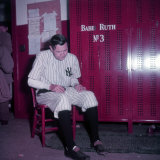 Baseball Player Babe Ruth in Uniform at Yankee Stadium