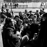 Activist Folk Musician Woody Guthrie Playing for a Crowd of Young New Yorkers in a Park
