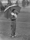 Australian Golfer Peter Thompson  Standing under Oversized Umbrella During the Los Angeles Open