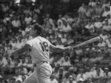 Action Shot of Cincinatti Red's Ted Kluszewski  Following the Direction of Baseball from His Hit