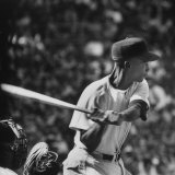 Action Shot of Chicago Cub's Ernie Banks  Preparing to Smack the Incoming Baseball with His Bat
