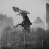 Olympic Skater Carol Heiss Performing on Ice Outdoors at Wollman Memorial Rink in Central Park