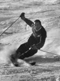 Olympic Hopeful  Tom Corcoran  Demonstrating Down Hill Turn  at Sun Valley Training Camp