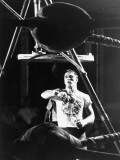 Heavyweight Boxing Contender Jerry Quarry Working Out on Punching Bag  Training at Caesar's Palace