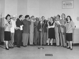 Comedian Jack Benny and Wife Posing with Cast of His Radio Show