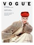 Vogue Cover - November 1951 - Red Hat  Fur Coat