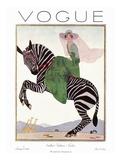 Vogue Cover - January 1926 - Zebra Safari Reproduction d'art par André E. Marty