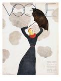Vogue Cover - February 1933 - Umbrella Weather Reproduction d'art par Georges Lepape
