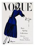 Vogue Cover - April 1947 - Black and Blue Giclée premium par Dagmar