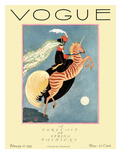 Vogue Cover - February 1927 - Flying Zebra Giclée premium par George Wolfe Plank