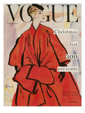 Vogue Cover - November 1953 - Christmas Coat Giclée premium par René R. Bouché