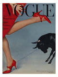 Vogue Cover - February 1958 - Running with the Bulls Giclée premium par Richard Rutledge