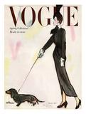 Vogue Cover - March 1917 - Dachshund Stroll Reproduction d'art par René R. Bouché