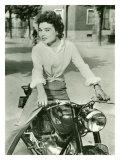 Affiche représentant une étoile italienne sur une moto Gilera de 1952 Giclée