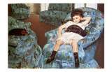 Little Girl Sitting in Blue Arm Chair