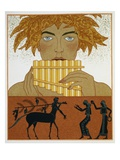Book Illustration of a Woman Playing Panpipes and a Centaur Greeting Two Women by Georges Barbier