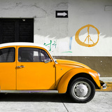 ¡Viva Mexico! Square Collection - Orange VW Beetle Car & Peace Symbol