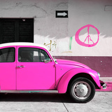 ¡Viva Mexico! Square Collection - Deep Pink VW Beetle Car & Peace Symbol