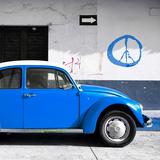 ¡Viva Mexico! Square Collection - Blue VW Beetle Car & Peace Symbol