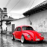 ¡Viva Mexico! Square Collection - Red VW Beetle Car in San Cristobal de Las Casas Papier Photo par Philippe Hugonnard