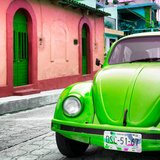 ¡Viva Mexico! Square Collection - Green VW Beetle Car and Colorful House