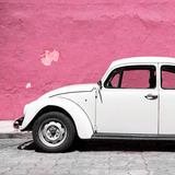 ¡Viva Mexico! Square Collection - White VW Beetle Car & Pink Wall