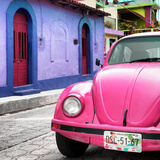 ¡Viva Mexico! Square Collection - Pink VW Beetle Car and Colorful House