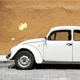 ¡Viva Mexico! Square Collection - White VW Beetle Car & Dark Beige Wall
