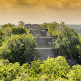 ¡Viva Mexico! Square Collection - Pyramid in Mayan City at Sunset of Calakmul