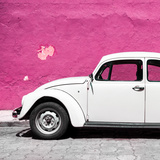 ¡Viva Mexico! Square Collection - White VW Beetle Car & Deep Pink Wall