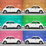 ¡Viva Mexico! Square Collection - White VW Beetle Cars & Color Walls