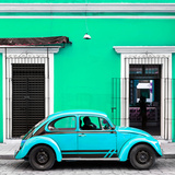 ¡Viva Mexico! Square Collection - VW Beetle Car - Coral Green & Skyblue