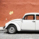 ¡Viva Mexico! Square Collection - White VW Beetle Car & Brick Wall