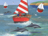 Sailing with Dolphins Reproduction d'art par Peter Adderley