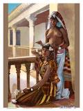 The Dressing (La Toilette) - Classic Vintage Hand-Colored Nude - Exotic Near East Erotica Art