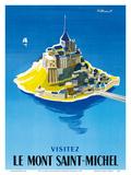 Visit Le Mont Saint-Michel - Normandy, France Reproduction d'art par Bernard Villemot