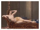 Classic Vintage Hand-Colored Nude - Exotic French Erotic Art Reproduction d'art par Julian Mandel