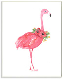 Pink Flamingo with Flowers Facing Right