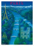 Paris - River Seine, Eiffel Tower, Notre Dame Reproduction d'art par Bernard Villemot