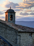 France  Provence  Lacoste Church Bell Tower at Sunset in the Hill Town of Lacoste