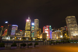 Hong Kong  China Night Skyline with Twilight in City at Harbor