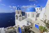Blue Roofed Churches and Homes are Everywhere on the Island Santorini Greece
