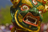 Mask of Dancer at Religious Festivity with Many Visitors  Paro Tsechu  Bhutan  Asia